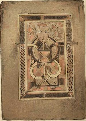 Kingdom of Alba - Book of Deer, folio 29v contains a portrait of the Evangelist Luke; a list of privileges and legends were written legends in Gaelic and Latin in the margins, in lowland Buchan in the reign of David I.