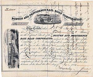 Boston and Providence Railroad - share of Boston and Providence Rail Road Corporation from 13. November 1835
