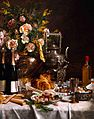 Bottles of Champagne Bread Biscuits and Cakes on a Draped Table, Jules Larcher.jpg