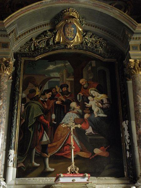 Église Saint-Pierre de Bouchamps-lès-Craon (53). Tableau du retable du maître-autel. Adoration des Mages.
