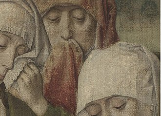The Entombment (Bouts) - Detail showing the heads of Mary Salome,  Mary of Clopas and The Virgin. The loss of paint (in the red cloth) and film of dirt (in the top right corner) are clearly visible.