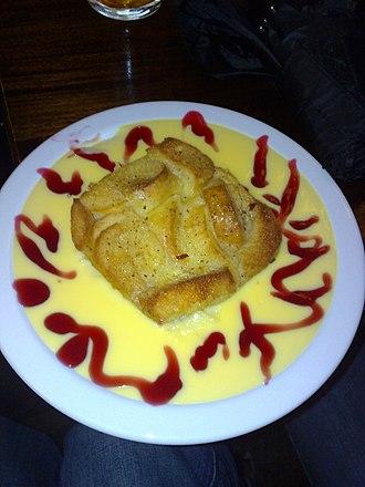 Bread and butter pudding - Bread and butter pudding and custard