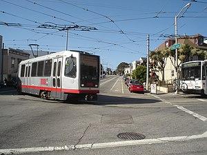 J Church - An inbound J Church train turns from San Jose Avenue onto 30th Street