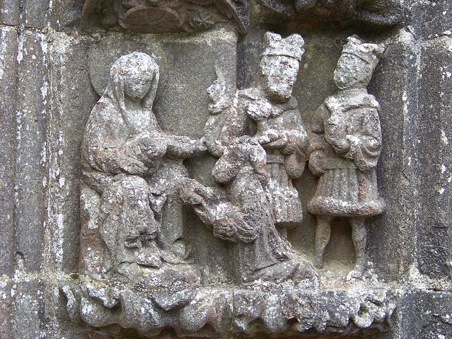 The Adoration of the Magi. One of the reliefs around the porch arch.