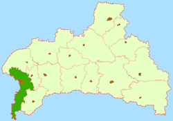 Location of Brestas rajons