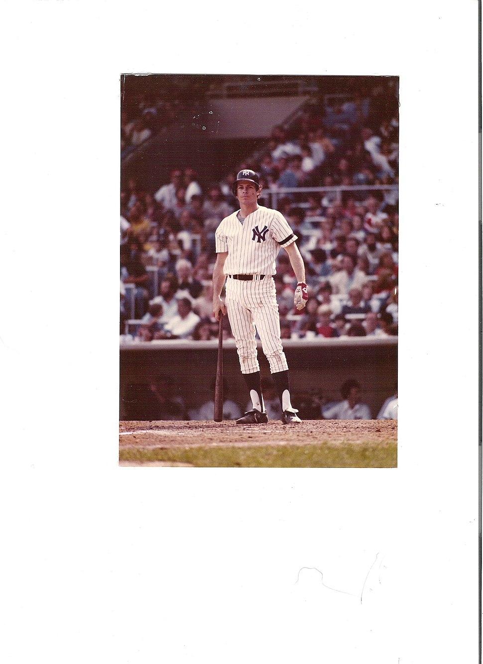 Bruce Robinson At Bat At Yankee Stadium Looking For Sign