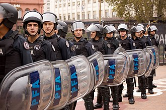 Argentine Federal Police - PFA officers during the 2008 Olympic Torch Relay in Buenos Aires