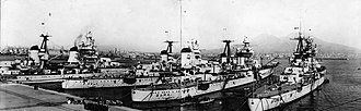 Italian cruiser Fiume - Fiume (right) along with Zara and Pola in Naples