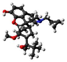 Ball-and-stick model of the buprenorphine molecule