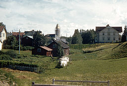 Burträsk 1949 med Burträsks kirke under bygning i baggrunden.