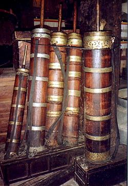 Butter tea churns, Sera, Tibet.JPG