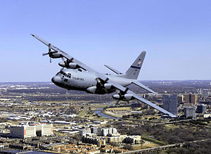 136th Airlift Wing - 136th Airlift Wing C-130H over Fort Worth, Texas
