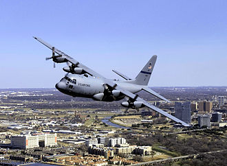 136th Civil Engineer Squadron - 136th Airlift Wing C-130H over Fort Worth, Texas