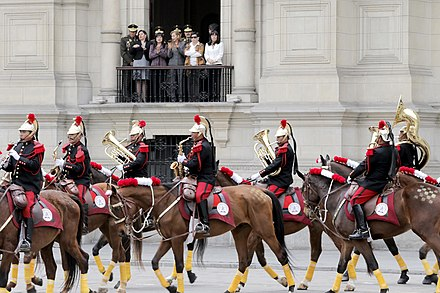The regimental band of the Presidential Life Guard Dragoons Regiment is the only active mounted band in the Peruvian Armed Forces. CEREMONIA DE CAMBIO DE GUARDIA (9762165025).jpg