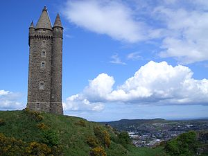 Newtownards - Scrabo Tower (with Newtownards in the background)