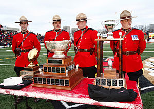 Vanier Cup - From left to right, The Ted Morris Trophy, Vanier Cup and Bruce Coulter Trophy at the 2009 Vanier Cup at PEPS Stadium in Quebec City.