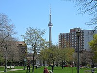 The CN Tower, as seen from Trinity Bellwoods Park in the west end of Toronto