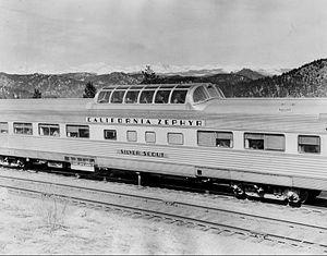 """California Zephyr - The Vista-Dome coach """"Silver Scout."""""""