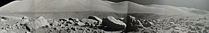 Camelot (crater) - Panorama taken by Eugene Cernan from the south rim of Camelot, at Geology Station 5