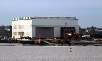 Cammell Laird - The shipbuilding hall with RRS Sir David Attenborough under construction