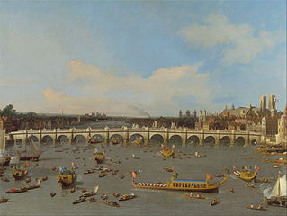 Westminster Bridge, with the Lord Mayor's Procession on the Thames
