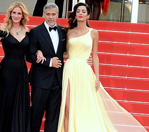 Amal Clooney - Amal and George Clooney with Julia Roberts at the 2016 Cannes Film Festival, in France