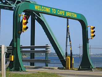 Canso Causeway - The Canso Canal Bridge crosses the Canso Canal at the eastern end of the causeway.  The navigable canal is considered the official dividing line between Cape Breton Island and mainland Nova Scotia.