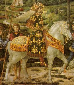Giovanni VIII Paleologo nell'affresco di Benozzo Gozzoli nella Cappella dei Magi, Firenze.