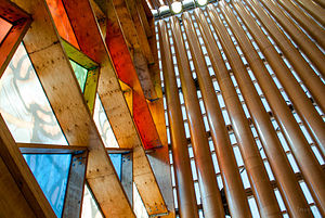 Cardboard Cathedral - Construction details; cardboard, wood and glass