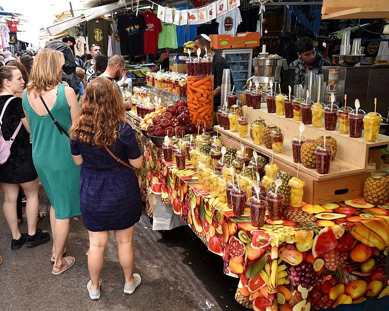 Scene at a street stall in Carmel Market (HaCarmel)