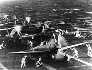 Pacific Ocean theater of World War II - Japanese naval aircraft prepare to take off from an aircraft carrier.