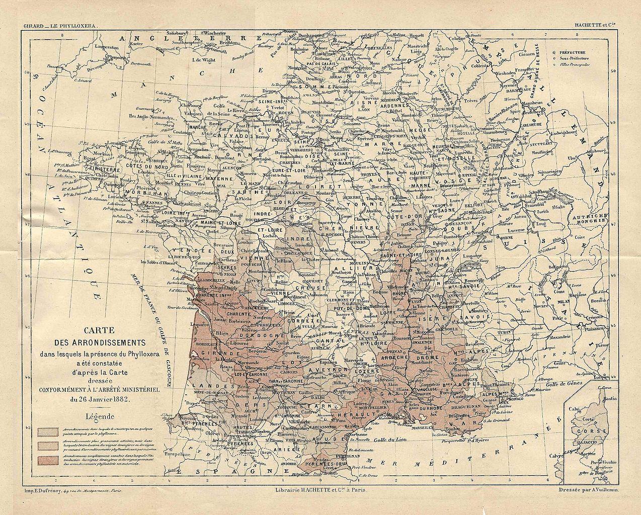 Карта распространения филоксеры во Франции. 1882 г.