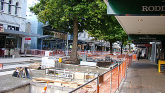 City Mall, Christchurch - Redevelopment of City Mall in March 2009 (the building on the left is 93 Cashel Street)