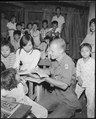 Cat Lai, Vietnam....Private First Class, Alan Wondra conducts a class in English at a Vietnamese school during a... - NARA - 531462.tif