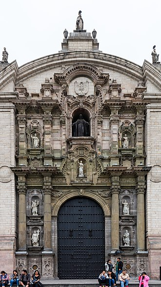 Cathedral Basilica of St. John the Apostle and Evangelist, Lima - Main facade Portada del Perdón
