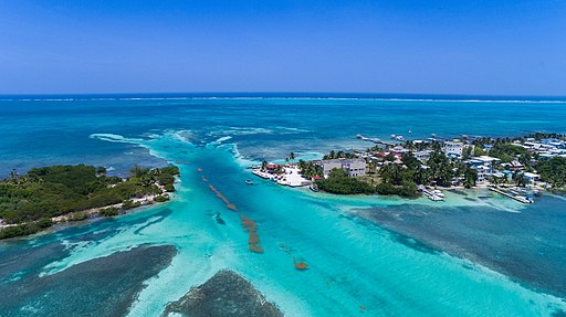 Caye Caulker Belize Barrier Reef Aerial (119509559)