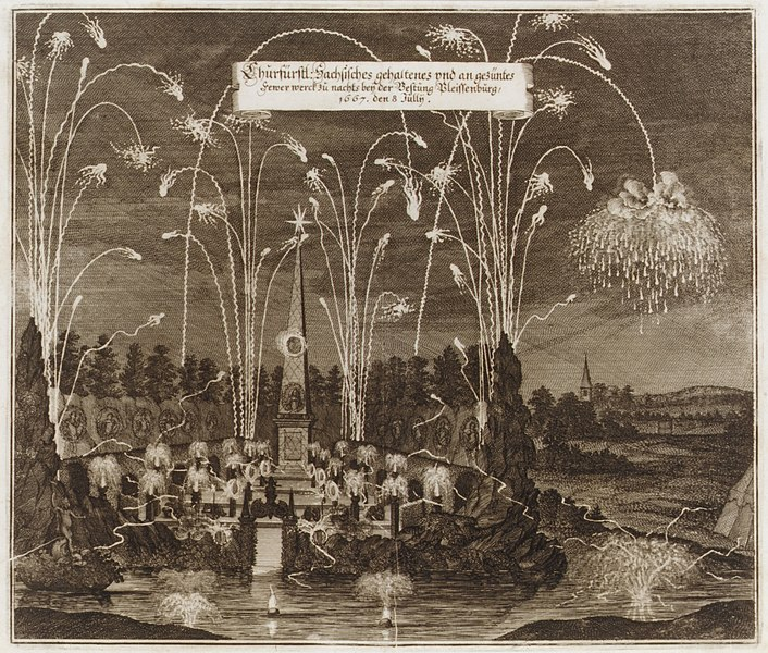 File:Celebration for the Elector Johann Georg II, Leipzig, July 8, 1667- Fireworks Display by Night MET DR296.jpg