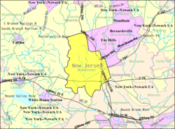 Census Bureau map of Bedminster Township, New Jersey