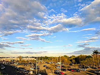 Central Islip, New York - A birds eye view of Central Islip LIRR parking area from foot over bridge.