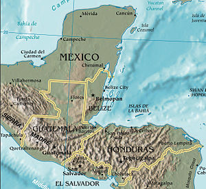 Topographic map of Northern Central America