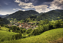View of the town of Cerkno