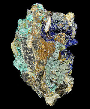 Mount Sherman - Cerussite-Rosasite-Azurite-Smithsonite-Mimetite (etc.), classic secondary ore mineral specimen from the Sherman Mine. Size: 15.1 x 10.6 x 9.8 cm. Click on image for more photos of this specimen.