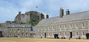 Elizabeth Castle - The Lower Ward in 2008. The long terrace on the right is the barrack building