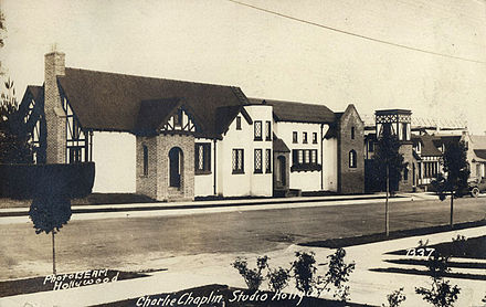 A 1922 image of Charlie Chaplin Studios, where all of Chaplin's films between 1918 and 1952 were produced Chaplin Studios postcard.jpg
