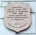 Charles Kickham plaque, Kickham House, Thurles, Co. Tipperary.jpg