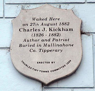 Charles Kickham - Plaque on the wall of Kickham House,   The Square, Thurles, Co. Tipperary