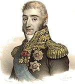 Color print of a long-nosed man with sideburns wearing a military uniform with elaborate gold braid and epaulettes