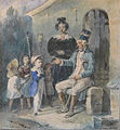 Charlet N.T. - Watercolor - Le vieux grognard racontant ses épopées - 11.5x13cm.jpg