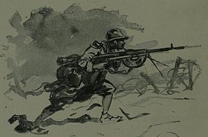 Chauchat - Illustration of the Chauchat machine rifle in action