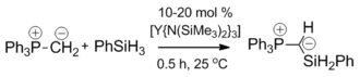 Ylide - Yttrium catalysed dehydrocoupling of triphenylphosphonium methylide and phenylsilane.